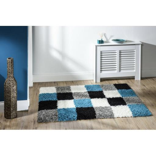 "Modern Quality Large Thick Shaggy Blue Grey Rug 160 x 230 cm (5'3""x7'7"") Carpet"