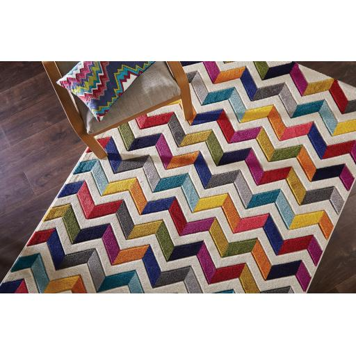 Spectrum Bolero Vibrant Colour Hand Carved Rugs Runners