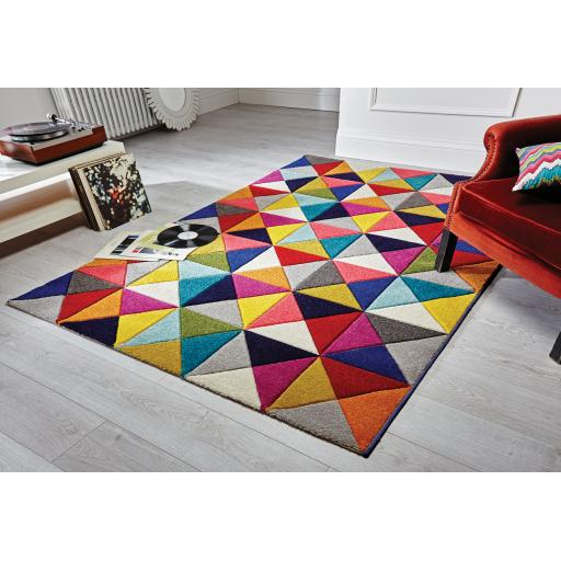 Spectrum Samba Vibrant Colour Hand Carved Rugs Runners