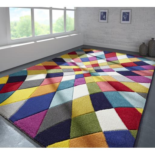 Spectrum Rhumba Vibrant Colour Hand Carved Rugs