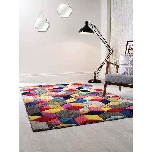 Spectrum Dynamic Vibrant Colour Hand Carved Rugs Runners