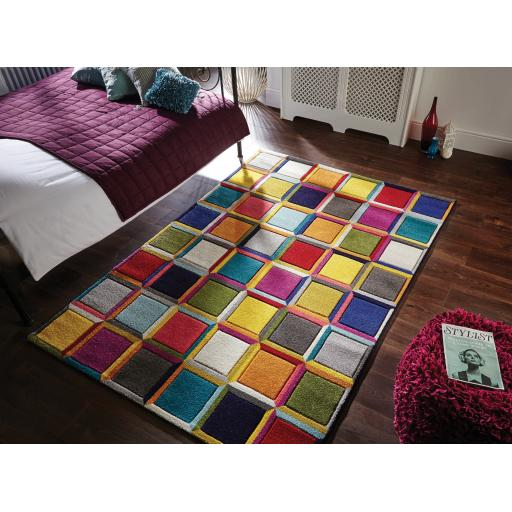 Spectrum Waltz Vibrant Colour Hand Carved Rugs Runners