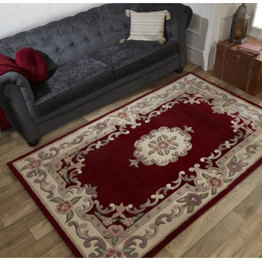 Lotus Premium Traditional Aubusson Floral Design 100% Wool Rugs Runners Rounds