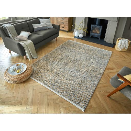 Santiago Lota Abstract Fashion Hand-Knotted Style Soft Ochre Rug