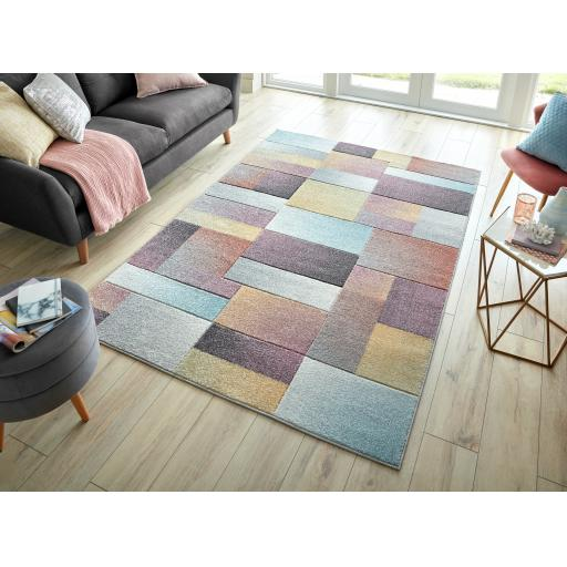 Modern Ada Hand Carved Lilia Geometric Pastel Rugs Runners