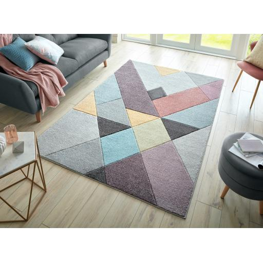 Modern Ada Hand Carved Mika Pastel Multi Colours Rugs