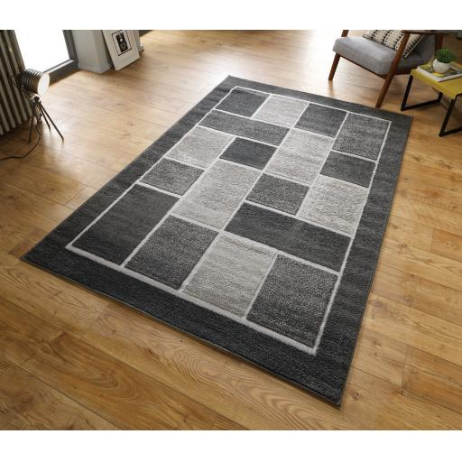 Modern 4304 Visiona Geometric Design Natural & Grey Hand Tufted Rugs