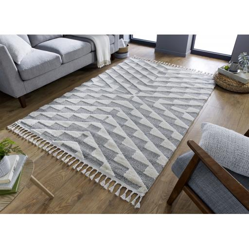 Aria Hampton Modern Hand Tufted Grey/Cream Rugs