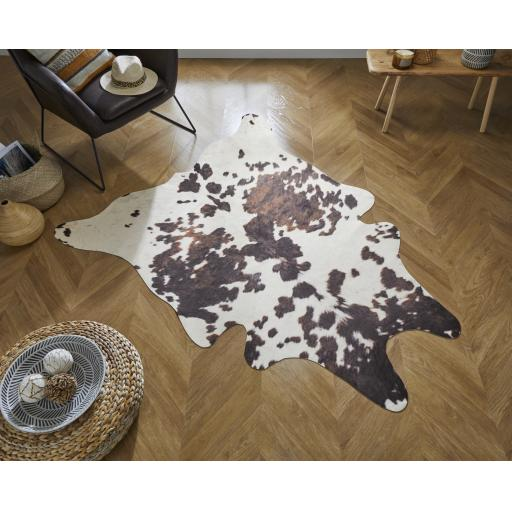 Faux Wild Animal designs Zebra, Cow and Lepoard Print Shaped Rug