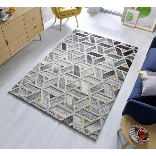 Moda River Grey Multi 100% Wool Rugs Runners