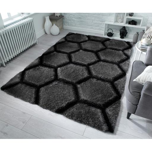 Verge Honeycomb Soft Shaggy Geometric Design Hand Carved Rug