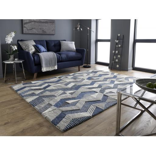 Moda Asher Blue 100% Wool Rugs Runners