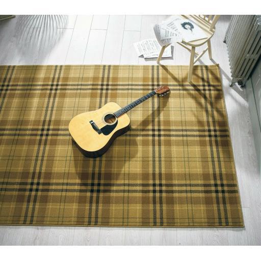 Glen Kilry Checked Tartan Beige Rug 120 x 170 cm (4'x5'6'')