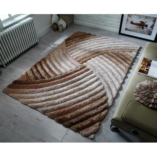 Verge Furrow Swirl Pattern Soft Shaggy Hand Carved Rug