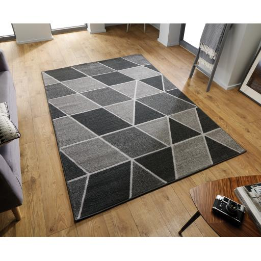 Modern Visiona Trivex Geometric Design Natural & Grey Hand Tufted Rugs