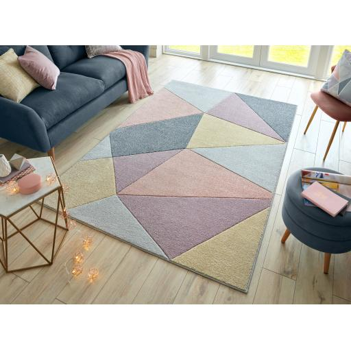 Modern Ada Hand Carved Heidi Geometric Pastel Colours Rugs