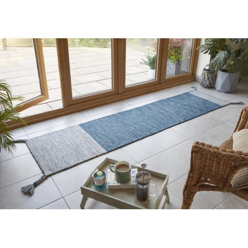 Indira Fringed Blue 100% Wool Hall Runner Rug 60 x 200 Cm (2'x6'7'')