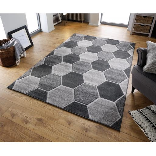 Modern Visiona Hive Geometric Design Natural & Grey Hand Tufted Rugs