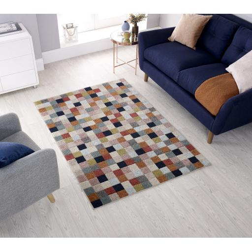 Urban Squares Checked Design Multi Rug Runners