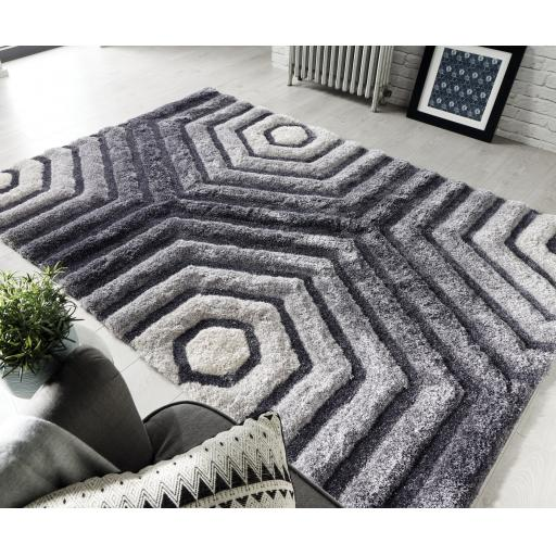 Verge Hexagon Soft Shaggy 3D Design Hand Carved Grey Rug