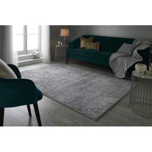 Eris Arissa Modern Abstract Metallic Silver Gold Rug