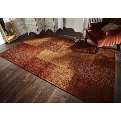 Manhattan Patchwork Chenille Flat Weave Rugs in Terracotta Black Grey and Duck Egg