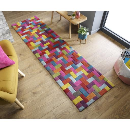 Illusion Flynn Geometric Blocks Multi Wool Runner Rug 60 x 230 cm (2'x7'7'')