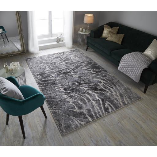 Eris Lyra Modern Abstract Metallic Silver Rug
