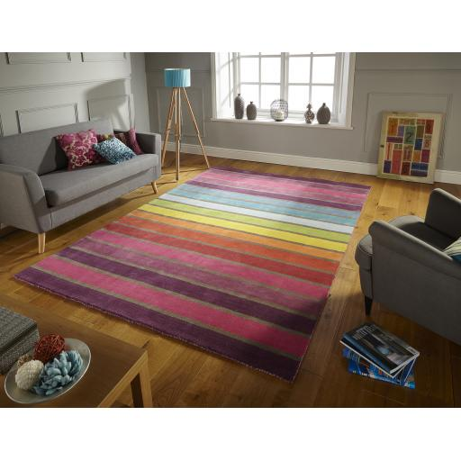 Illusion Candy Multi Colours Striped Wool Runner Round Rug