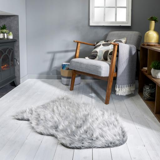 Aura Faux Fur Glacier Sparkly Sheepskin Grey Ivory Animal Skin Shaped Rug 60 x 90 cm (2x3')