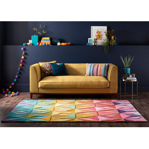 Illusion Reverie 100% Wool Geometric Hand Tufted Colourful Rug Runner