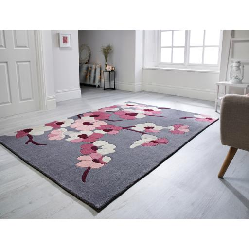 Infinite Blossom Floral Hand Carved Rugs Rounds