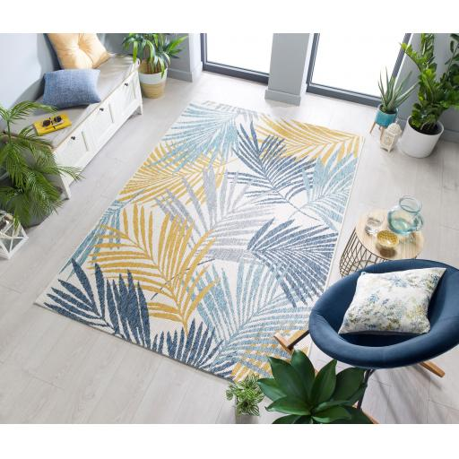 Dimensions Outdoor Indoor Tropic Leaves Design Flatweave Weather-Resistant Rug Runner