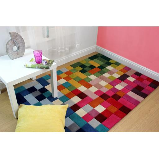 Illusion Lucea Squares Design Multi Colours Wool Rug