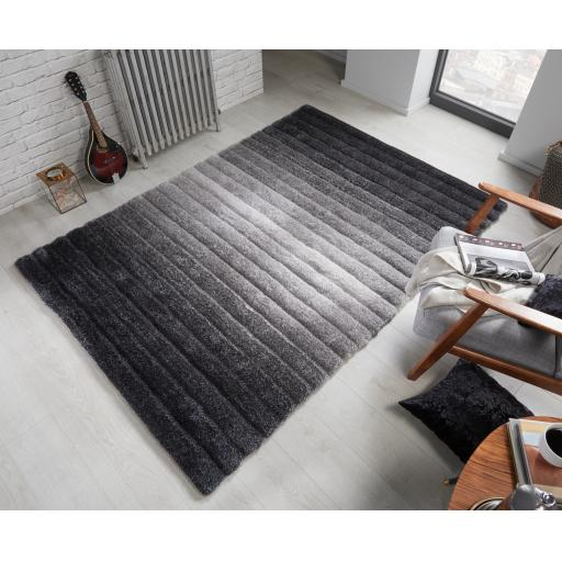 Verge Ombre Soft Shaggy Striped 3D Design Hand Carved Rug