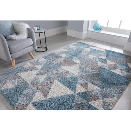 Dakari Nuru Geometric Tribal Soft Shaggy Rugs Runners