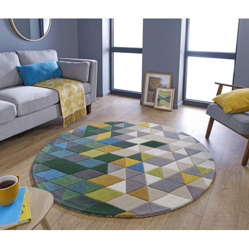 Illusion Prism Geometric Wool Circle Rug in Green Multi 160 x 160 cm (5'3''x5'3'')