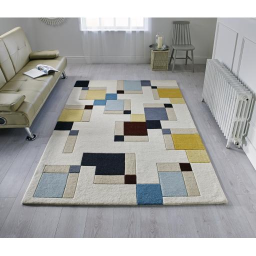 Illusion Abstract Blocks Geometric Wool Rug in Blue Ochre