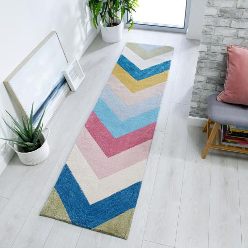 Zest Chroma Geometric Runner Hallway in Multicolours 60 x 230 cm (2'x7'7'')