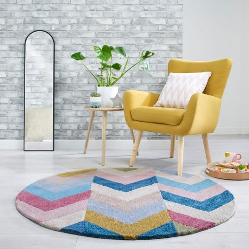Zest Chroma Geometric Circle Rug in Multicolours 133 x 133 cm (4'5''x4'5'')