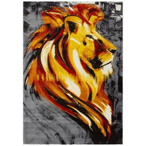 Safari Animal Art Lion Rug in Gold 160 x 230 cm (5'3''x7'7'')