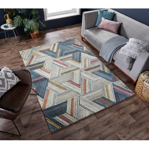 Moda Ortiz Geometric 100% Wool Rug in Natural Multi