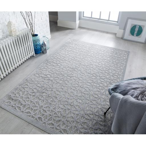 Piatto Argento Silver Outdoor Indoor Rug