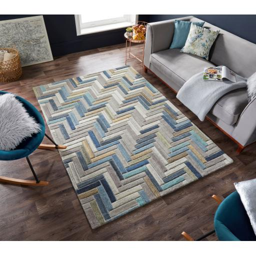 Moda Russo Geometric 100% Wool Rug in Natural Multi