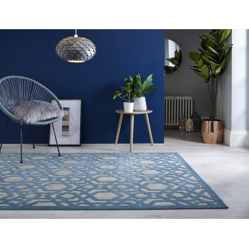 Piatto Oro Blue Outdoor Indoor Rug