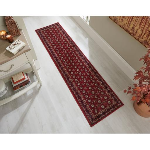 Sincerity Royale Bokhara Traditional Hallway Runner Rug in Red, Beige and Teal 60 x 230 (2'x7'7'')