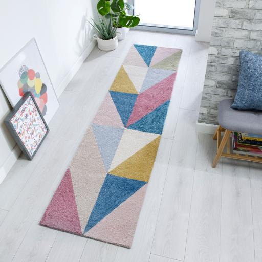 Zest Metro Geometric Runner Hallway in Multicolours 60 x 230 cm (2'x7'7'')