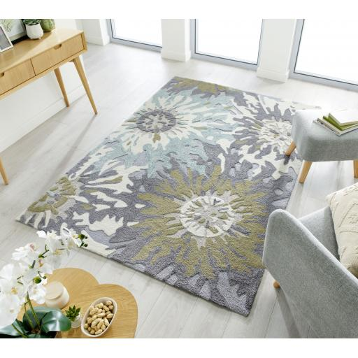 Zest Soft Floral Rugs in Green, Grey/Ochre, Natural and Terracotta