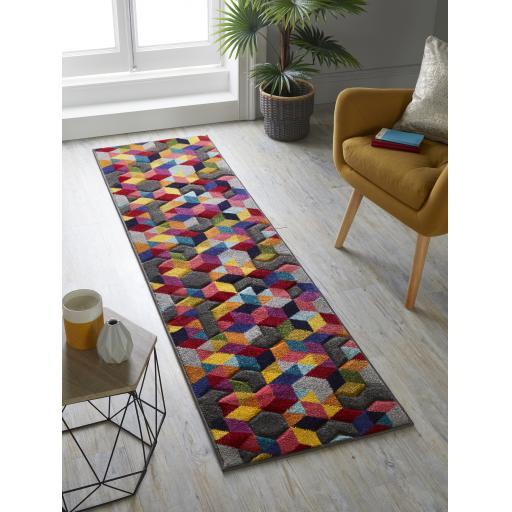 Spectrum Dynamic Multi Colours Geometric Hallway Runner Rug 66 x 230 cm (2'5''x7'7'')