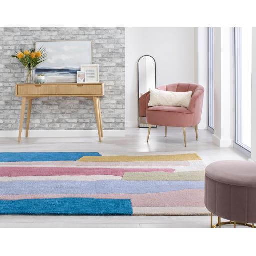 Zest Escala Abstract Luxurious Modern Rug in Multi, Ochre Yellow and Raspberry